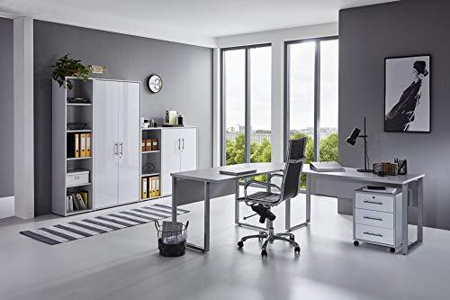 BMG-Moebel.de Büromöbel komplett Set Arbeitszimmer Office Edition in Lichtgrau/Weiß Hochglanz (Set 4)