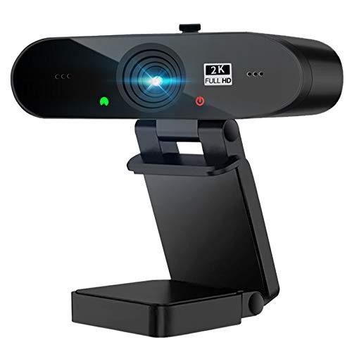 Webcam PC con Micrófono,1440P/30fps 2K Cámara Web,Webcam USB con Autoenfoque y Corrección de Luz para Videollamadas,Clases...