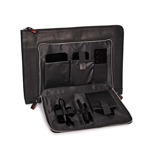 DONBOLSO® Notebook Sleeve London 15,6 Zoll Leder I Aktentasche aus Echtleder für Herren & Damen schwarz