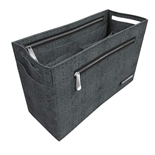"""Sternenfunke Hand-Taschenorganizer 25 cm mittel aus Filz in grau mit 2 Reißverschluß-Fächern """"Bag in The Bag"""" (25 cm, mittel)"""
