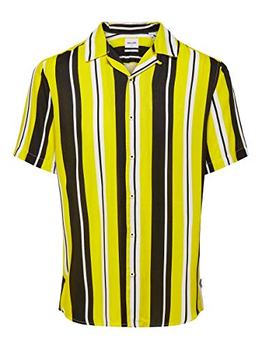 Only & Sons Onscarter SS Striped Viscose Shirt Camisa, Amarillo ardiente, XXL para Hombre