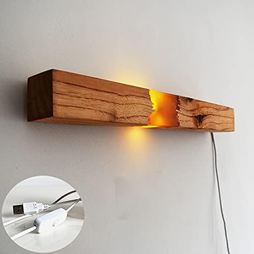 Lámpara de Pared Vintage con Interruptor LED Aplique de pared Madera Retro Iluminación de interior de Diseño rectángulo para Dormitorio sala de estar Pasillo Escalera, Blanco Cálido Luces 43CM*D4.8CM