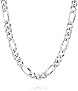 7MM Solid Sterling Silver Italian Figaro Link Chain Necklace- Italian 925 Figaro Necklace, Mens Thick Necklace, Figaro Chain 20-30