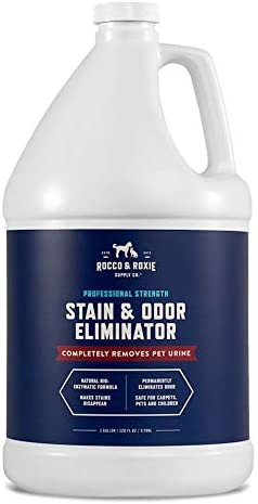 Rocco & Roxie Supply Professional Strength Stain and Odor Eliminator, Enzyme-Powered Pet Odor and Stain Remover for Dogs and Cat Urine, Spot Carpet Cleaner for Small Animal