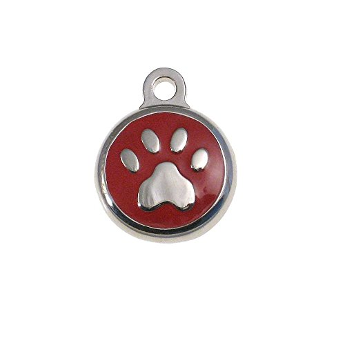 LuckyPet Pet ID Tag - Tiny Paw Print Jewelry Tag - Dog & Cat Tags for The Smallest Pets - Custom Engraved on Back Side - Color: Red