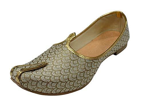 Stop n Style Mens Cream Gold Handmade Shoes Sherwani Shoes Achkan Shoes Etnic Mojri Khussa Jutti (11/Euro 44)