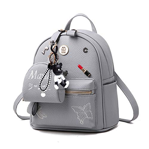BUKESIYI Damen Tasche Rucksack Handtasche Frauen backpack Klein Anti Diebstahl Schulrucksack Laptop Weekender PU Leder CCDE78135 Grau