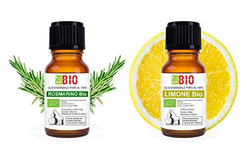 Set 2 oli essenziali Rosmarino - Limone 100% Puri Naturali Biologici - Certificati uso interno Terapeutici Alimentari Diffusori Aromaterapia Cosmetica - LaborBio