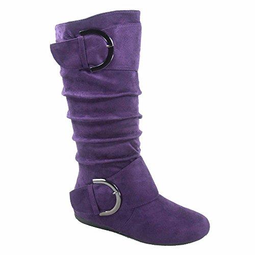 TOP Moda Bank-81 Women's Fashion Round Toe Flat Heel Zipper Buckle Slouchy Mid-Calf Boot Shoes (10, Purple)
