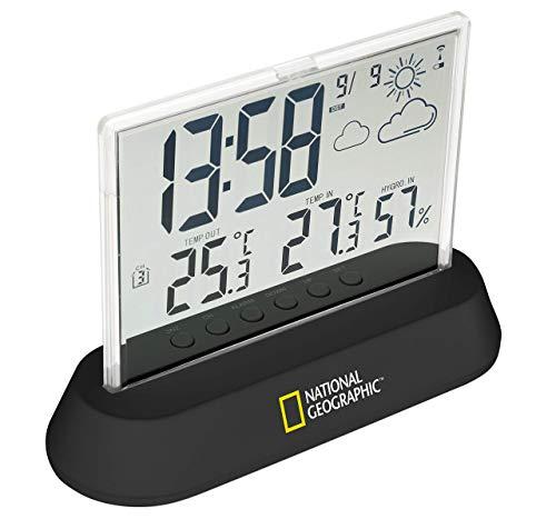 National Geographic Wetterstation Funk mit Außensensor in transparentem Design mit Anzeige für Temperatur und Luftfeuchtigkeit und Wettertrendanzeige