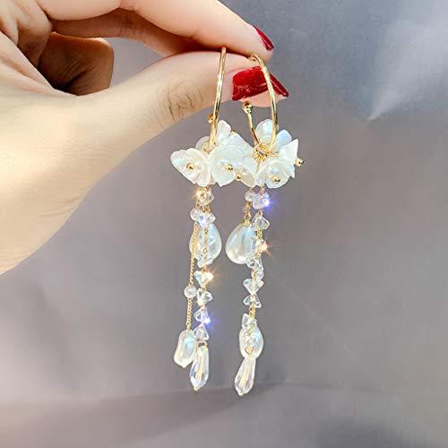 HINK Womens Earrings, Simple Metal Diamond Flower Pearl Crystal Earrings Ladies Jewelry, Jewelry & Watches for Christmas