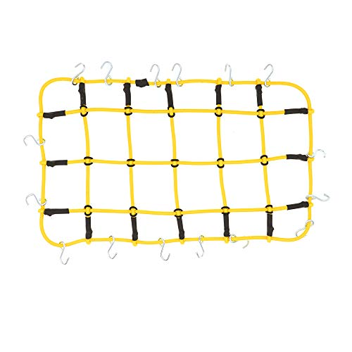 REhobby 1/10 RC Elastic Luggage Net 19x12cm with Hooks for 1:10th RC Crawler Rock Climbing Truck Car D90 TRX4 Roof Rack (Yellow)