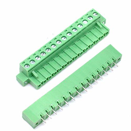 Willwin 5 Set 5,08 mm Abstand 14-polige steckbare Anschlussklemmen für Leiterplatten Grün