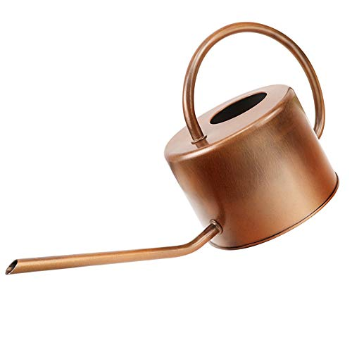 Megawodar Decorative Copper Colored Galvanized Steel Watering Can - Easy Pour Gooseneck Spout for Indoor Plant Watering (Bronze)