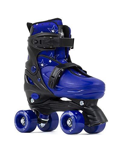 SFR Skates SFR Nebula Adjustable Quad Skates Unisex Kinderen Jeugd Zwart/Blauw, 33-37