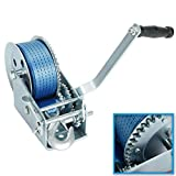 JIUAUTOPARTS 3200lbs Hand Crank Winch with Hook Polyester Blue Webbed Strap 2 Gear ATV Boat Trailer