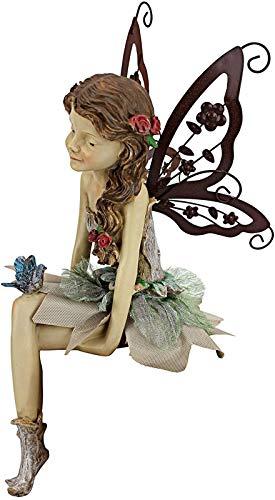 SEN-qiaolu Estatua De Hada Sentada Linda Escultura Y Adorno De Escritorio De Resina Fannie The Garden Estatua De Hada Sentada Decoración del Hogar con Alas Extraíbles