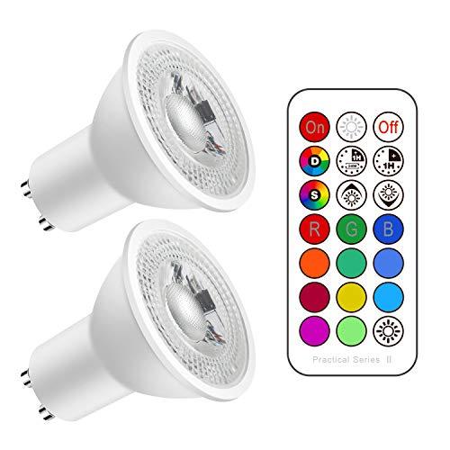 Lampadine LED GU10 Colorate con Telecomando, 5W Equivalenti 50W, Lampadina Spot LED Dimmerabile Bianco Freddo 6000K, 500lm, Faretto RGB Cambiare Colore (Confezione da 2)