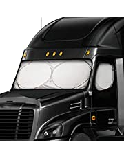 EcoNour Semi-Truck Sun Shade for Windshield and Side Windows | 240T UV Protective Sunshade for Truck Windshield Maximum Coverage to Block UV/Sun Heat Rays | Best for Semi, Commercial & Big Rig Truck