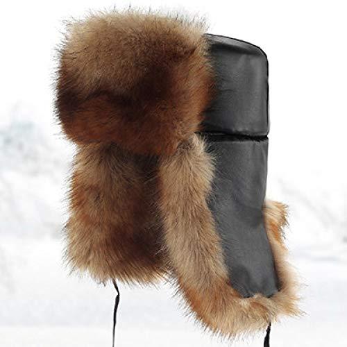 AFASSW Oranje Gemiddelde en ouderwetse muts voor mannen Winter Plus kasjmier warme, winddichte verdikking oorpet bomber hoed
