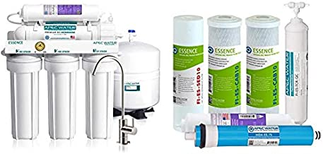 APEC Water Systems Essence Series Top Tier Alkaline Mineral pH+ 75 GPD 6-Stage Water Filter System & 75 GPD Complete Replacement Filter Set for Essence Series Alkaline Reverse Osmosis Filter System