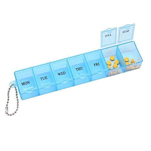 HEALTHCAFE | 7 DAY WEEKLY PILL TRAVEL BOX TABLET HOLDER MEDICINE DISPENSER ORGANISER STORAGE- PACK of -1 (MULTICOLOR)