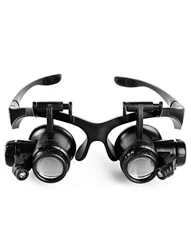 Leselupe Loep Led-lichtclip oor/Head-Mounted 10X / 15X / 20X / 25X, kluis eenvoudige elektronische reparatie, horlogereparatie, boeken lezen, sieraden identificeren en repareren, DIY Cr