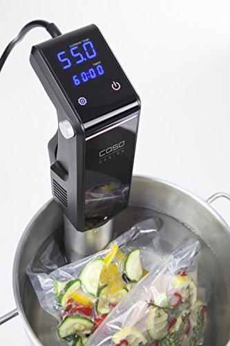 CASO SousVide Set Essen & Trinken - bestehend aus CASO GourmetVac 180 & CASO Sous Vide Garer SV300, Lebensmittel bis zu 8x länger frisch, wasserfester SousVide Stick - bis 90°C in 0.5 °C Schritten - 5