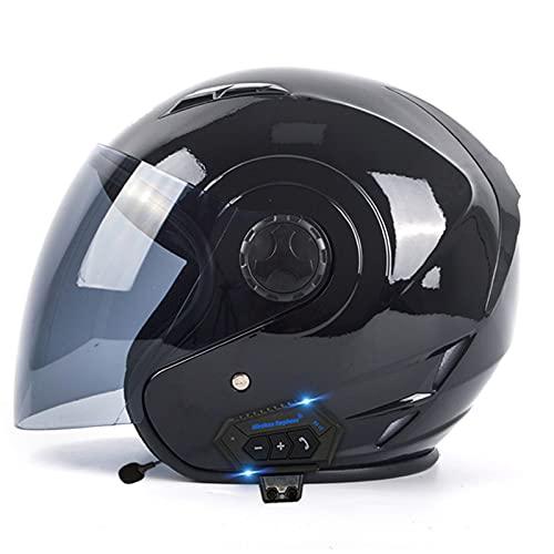 Casco Abierto Moto Bluetooth Para Hombre Mujer Homologado DOT ECE Casco Jet Motocross Con Visera Solar Casco Semi Integral Moto Medio Casco De Motocicleta, Para Respuesta Automática Bright Black,XL