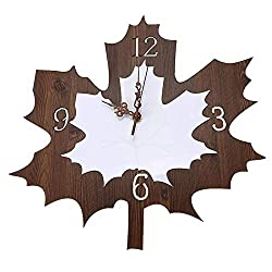 Wall Clocks For Living Room Modern Maple Leaf Shape Hanging Clock Retro Silent Wooden Quartz Wall Clock For Living Room Office Bar Home Decor Without Battery No Harm To The Environment And Health