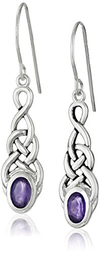 Amazon Collection Sterling Silver Genuine African Amethyst Celtic Knot Linear Drop Earrings