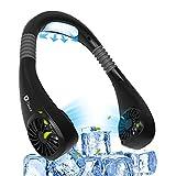 Moocii Ventilador Cuello Aire Acondicionado de Manos Libres 3 Velocidades 6 Modos Ventilador Personal Portátil Mini USB Recargable para el Cuello con Doble Viento Cabeza