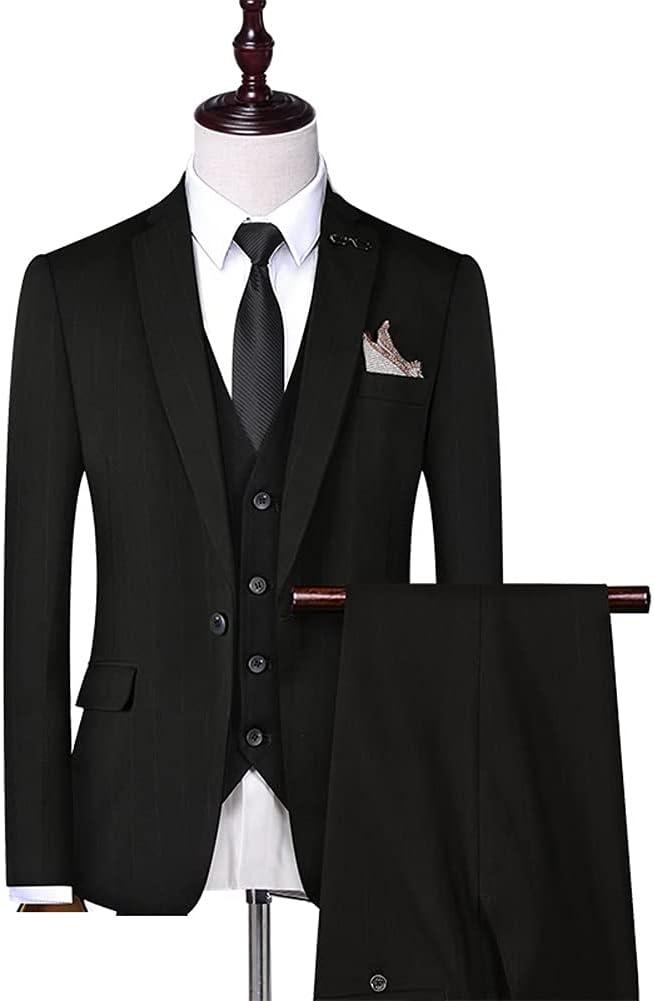 GYZX (Suit + Vest + Pants Male Korean Version Slim Business Casual Suit Suit Striped Suit/Wedding Suits for Men (Color : Black, Size : 4XL 81-85kg)
