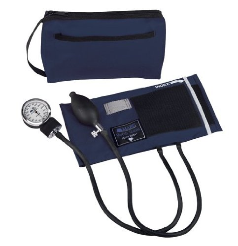 MABIS MatchMates Aneroid Sphygmomanometer Manual Blood Pressure Monitor Kit with Calibrated Nylon Cuff and Carrying Case, Professional Quality, Navy -  01-160-241