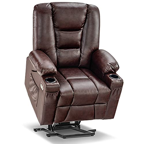 Mcombo Power Lift Recliner Chair with Massage and Heat for Elderly, Extended Footrest, 3 Positions, Lumbar Pillow, Cup Holders, USB Ports, Faux Leather 7519 (Medium, Dark Brown)