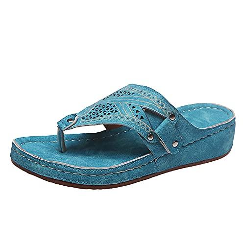 URIBAKY - Zapatos de playa para mujer, con puntera abierta, transpirables, elegantes, con correas, cómodos, planos, Azul (azul), 39 EU