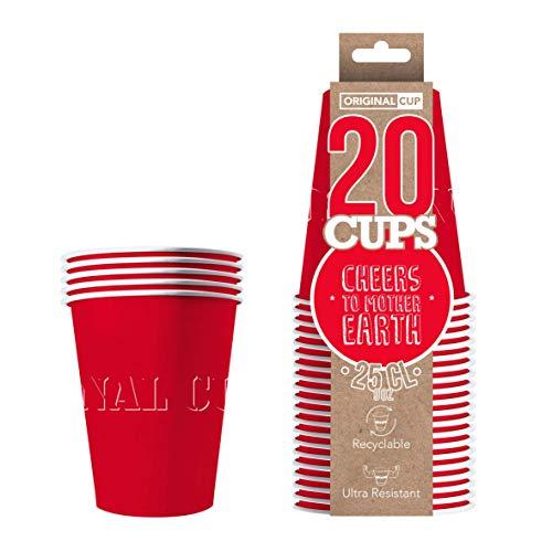 Original Cup - 20 x Amerikaanse papieren bekers 25 cl - Bierpongavond - Rood