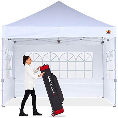 ABCCANOPY Ez Pop Up Canopy Tent 10x10 with Church Window Sidewalls, Party Tent-Series,White