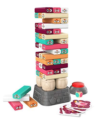 TOP BRIGHT Kinderspiel ab 3 Jahren Brettspiel, Wackelturm Spiel Holz Stapelturm, Spielzeug für 3 4 5 Jahren Jungen und Mädchen Geschenke