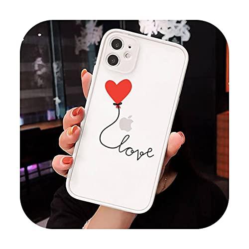 Amor corazón rojo patrón teléfono Carcasas mate transparente para iphone 7 8 11 12 más mini x xs xr pro max lujo marca shell cover-a1-iphone xr