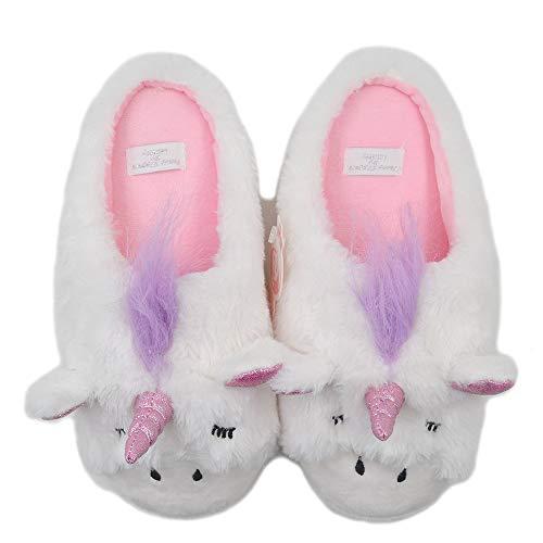 Zapatillas Unicornio | Zapatillas de interior al aire libre | Zapatos de felpa Acogedores Zapatillas Mujer | Lindo Chicas Fluffy, color Blanco, talla 40/41 EU