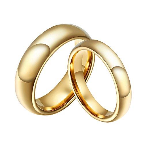 SINLEO Anillo de Compromiso clásico de carburo de tungsteno de Oro Curvado para Hombres y Mujeres, 6 mm, 4 mm