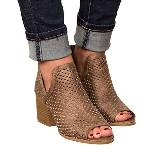 2019 Sandalias Romanas Para Mujer, Botines De Tacón Alto Ancho De Vestir Hollow Zapato Solo Peep-Toe De Boda Fiesta Con Cremallera Zapatillas De Verano Primavera Mocasines