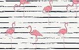 Jersey Stoff mit Flamingos auf Ecru als Meterware zum