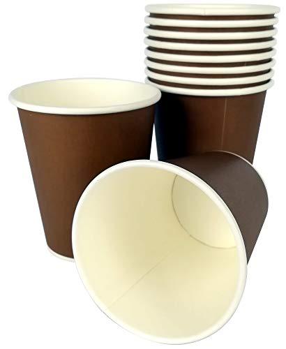 SDG Lot de 100 gobelets thermiques de 240 cc (8 Oz) en papier marron marron pour capsules chocolat et café