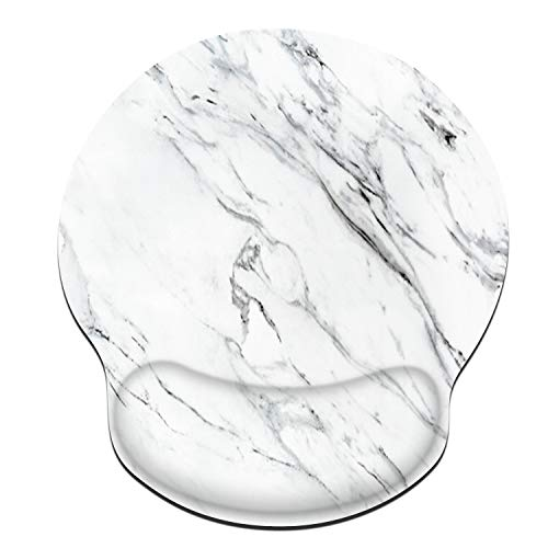 Galdas Mouse Pad with Wrist Support Ergonomic Mousepad Comfortable Non-Slip Rubber Base Mouse Pads for Computers Laptop Desktop (White Marble)