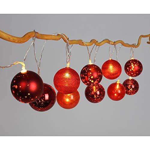 BURI LED Weihnachtskugel Lichterkette Weihnachtsdekoration Weihnachtsbeleuchtung, Farbe:rot