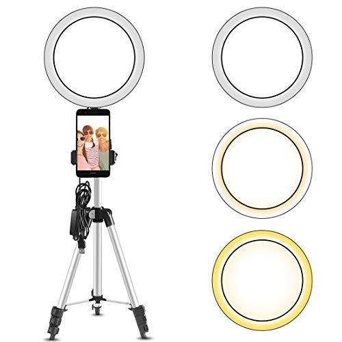 TXG 10.2 Pulgadas Selfie Stick Anillo de Luz con Eocean Trípode de 70-185CM,Mini Cámara de Luz de Anillo para Vlog/Video/Fotografía Compatible con para iPhone XS/MAX/XR 8/7 Plus/X/Android
