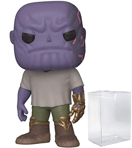 Pop Marvel: Figura de Vinilo Avengers Endgame – Casual Thanos con Gauntlet Pop! (Incluye Funda Protectora Compatible)