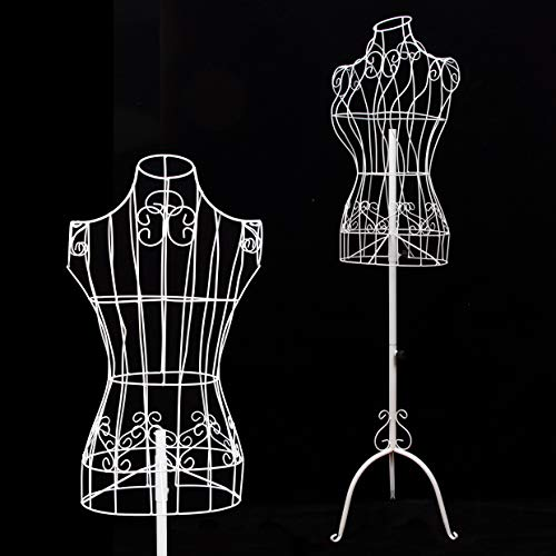 Female White Metal Steel Wire Mannequin Dress Form for Sewing Display